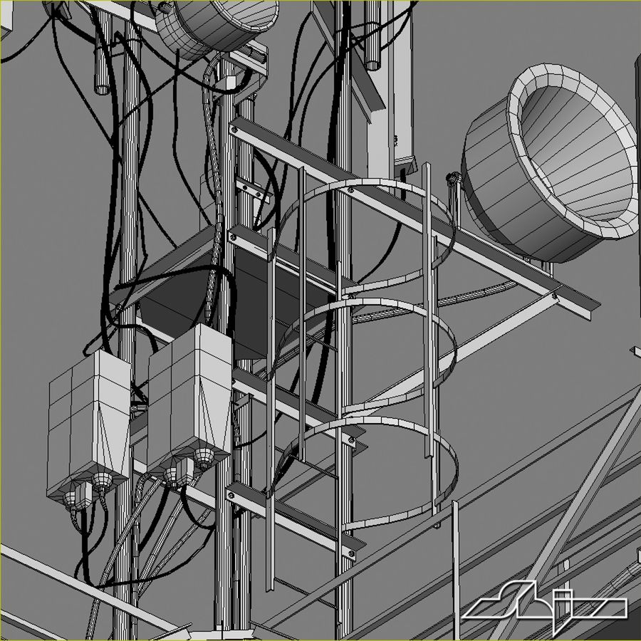Communication Tower Antena 1 royalty-free 3d model - Preview no. 15
