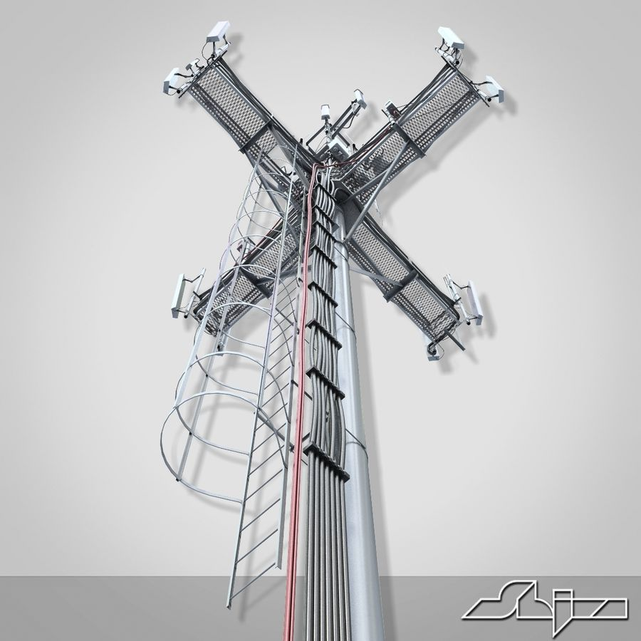 Torre de Comunicação Antena 1 royalty-free 3d model - Preview no. 9