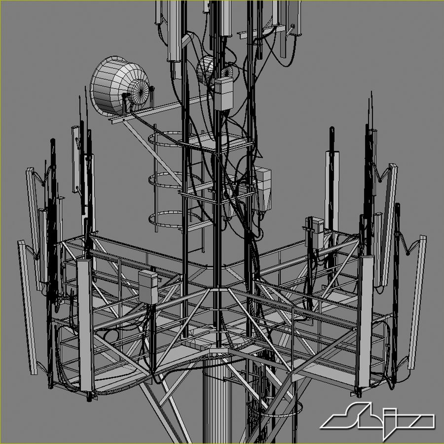 Communication Tower Antena 1 royalty-free 3d model - Preview no. 13