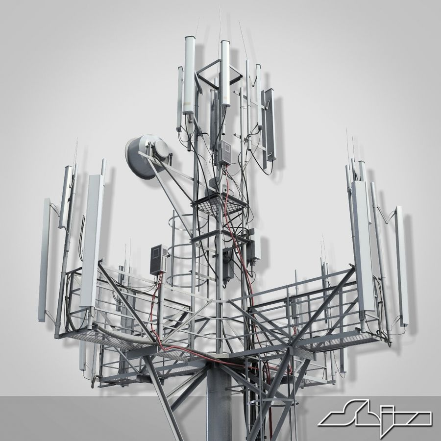 Communication Tower Antena 1 royalty-free 3d model - Preview no. 4
