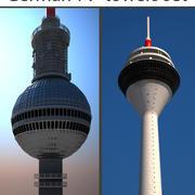 Ensemble de tours de télévision allemandes 3d model