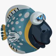 Kreskówka niebieska ryba 3d model