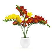 Vermelho-amarelo flores em pote 3d model