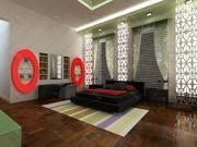 sypialnia pokój zielony 3d model