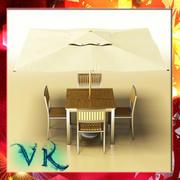 Yttre barbord, stol och parasoll. 3d model