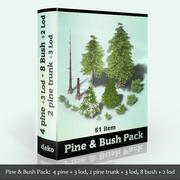 松と茂み 3d model