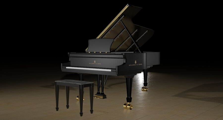 Piano Steinway Concert Grand Model D royalty-free 3d model - Preview no. 3