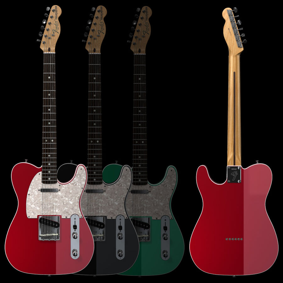 Fender Guitars Collection royalty-free 3d model - Preview no. 27