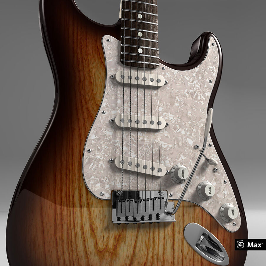 Fender Guitars Collection royalty-free 3d model - Preview no. 5