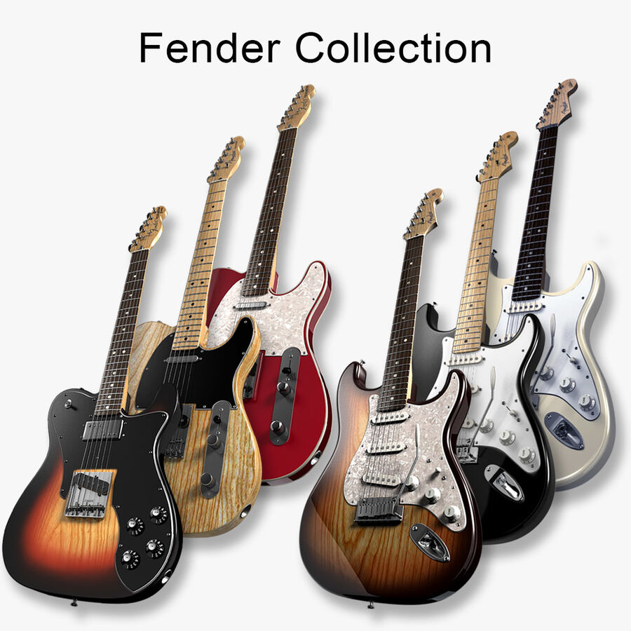 Fender Guitars Collection royalty-free 3d model - Preview no. 1