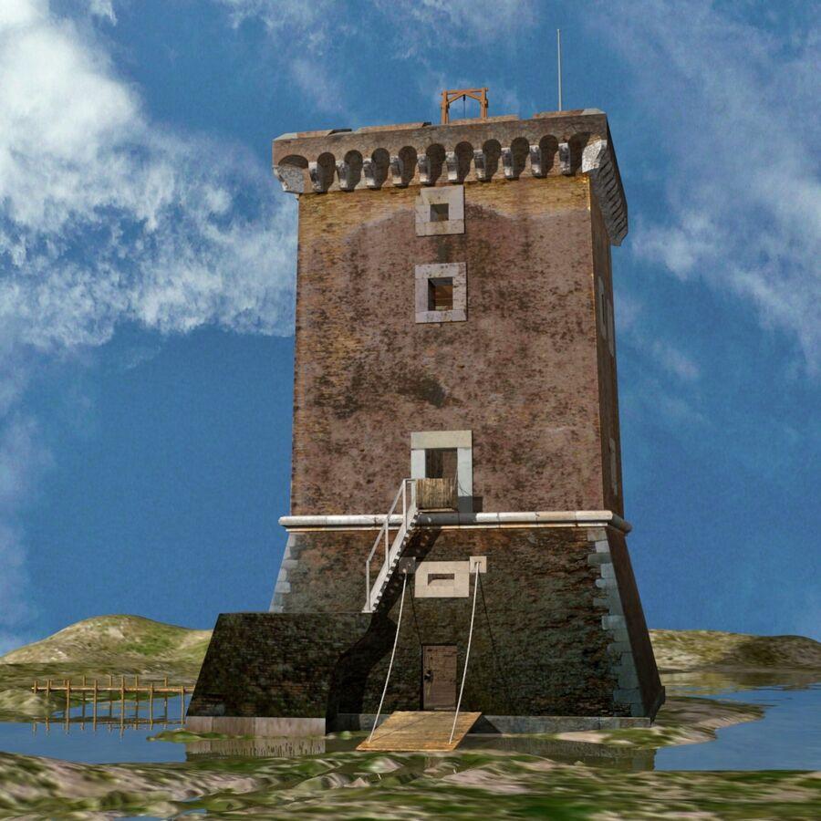 Średniowieczna wieża XV wieku royalty-free 3d model - Preview no. 3