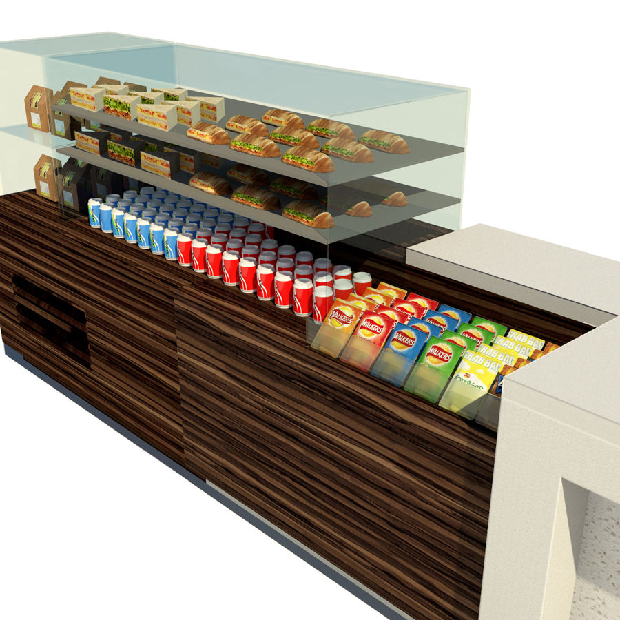 Food counter royalty-free 3d model - Preview no. 3