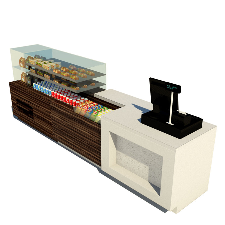 Food counter royalty-free 3d model - Preview no. 2