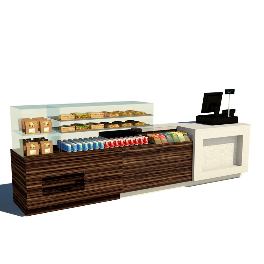 Food counter royalty-free 3d model - Preview no. 1