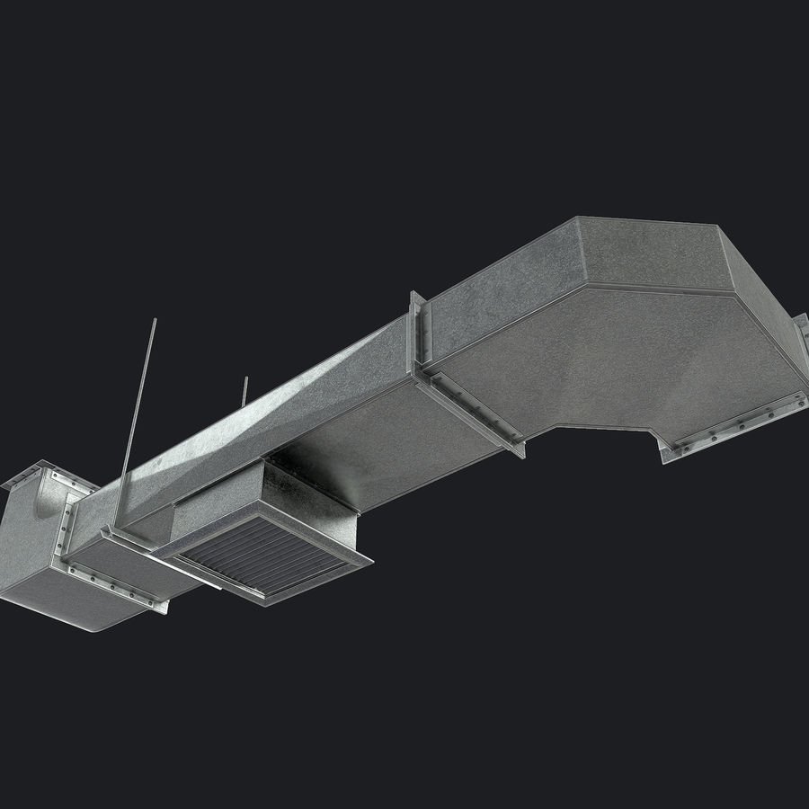Vent Duct Set 02 royalty-free 3d model - Preview no. 4