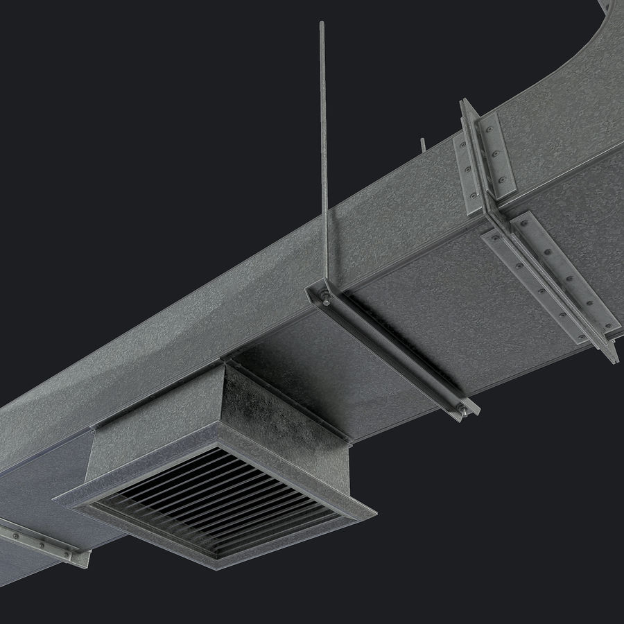 Vent Duct Set 02 royalty-free 3d model - Preview no. 2