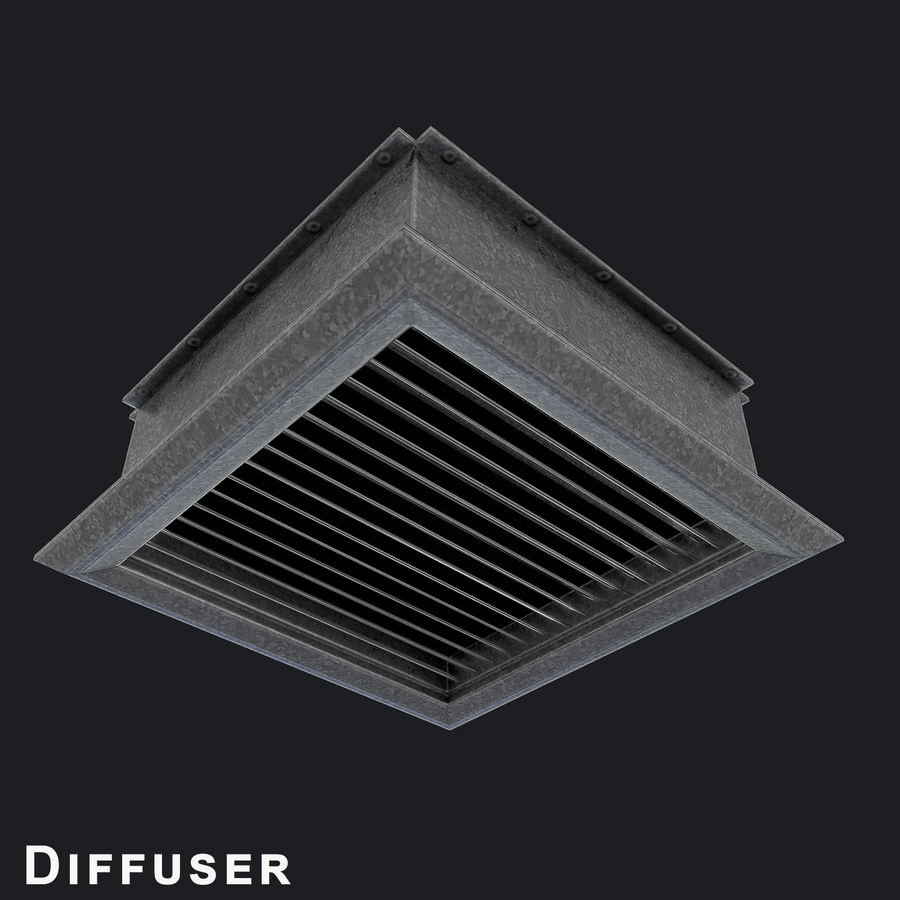 Vent Duct Set 02 royalty-free 3d model - Preview no. 6