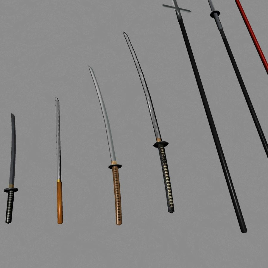 Samurai mele Weapons(Katana,Yari等) royalty-free 3d model - Preview no. 6
