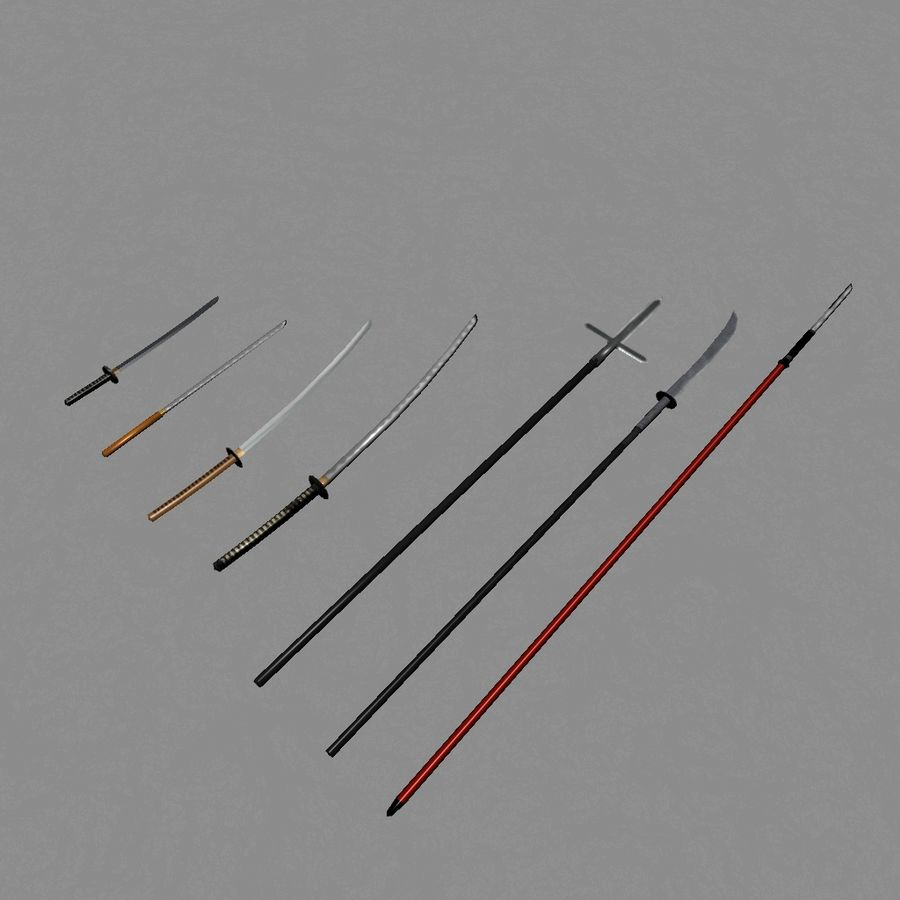 Samurai mele Weapons(Katana,Yari等) royalty-free 3d model - Preview no. 1