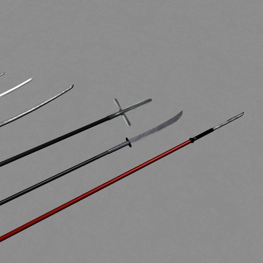 Samurai mele Weapons(Katana,Yari等) royalty-free 3d model - Preview no. 2
