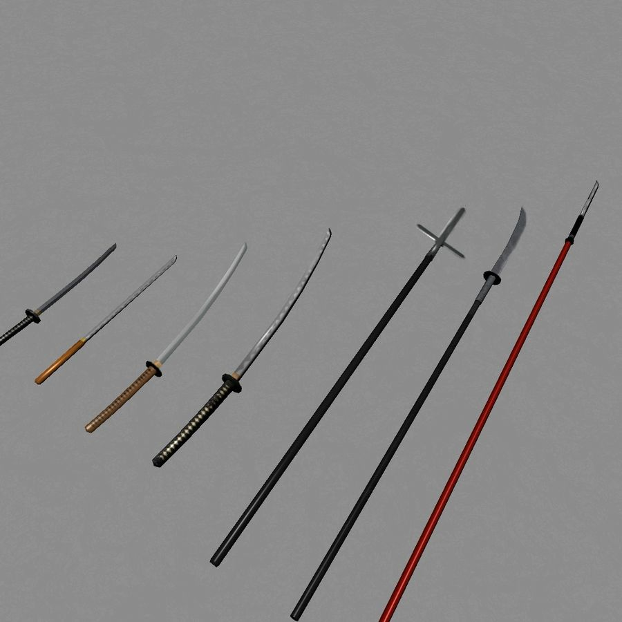 Samurai mele Weapons(Katana,Yari等) royalty-free 3d model - Preview no. 3