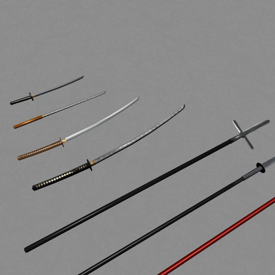 Samurai mele Weapons(Katana,Yari等) royalty-free 3d model - Preview no. 4