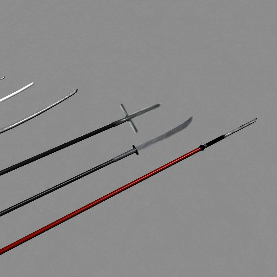 Samurai mele Weapons(Katana,Yari等) royalty-free 3d model - Preview no. 2
