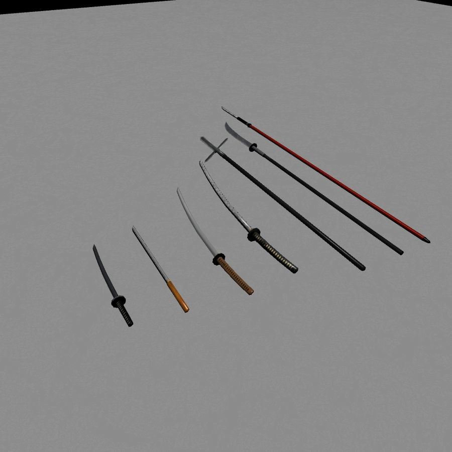 Samurai mele Weapons(Katana,Yari等) royalty-free 3d model - Preview no. 7