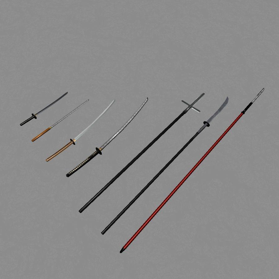 Samurai mele Weapons(Katana,Yari等) royalty-free 3d model - Preview no. 1
