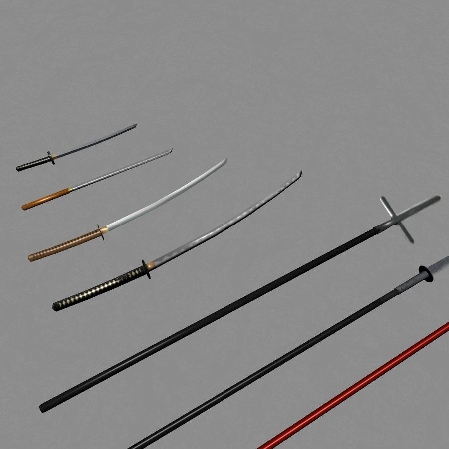 Samurai mele Weapons(Katana,Yari等) royalty-free 3d model - Preview no. 4