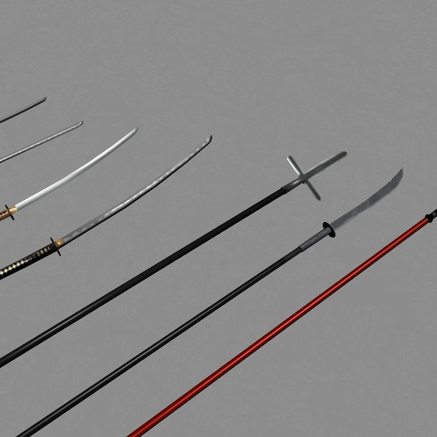 Samurai mele Weapons(Katana,Yari等) royalty-free 3d model - Preview no. 5