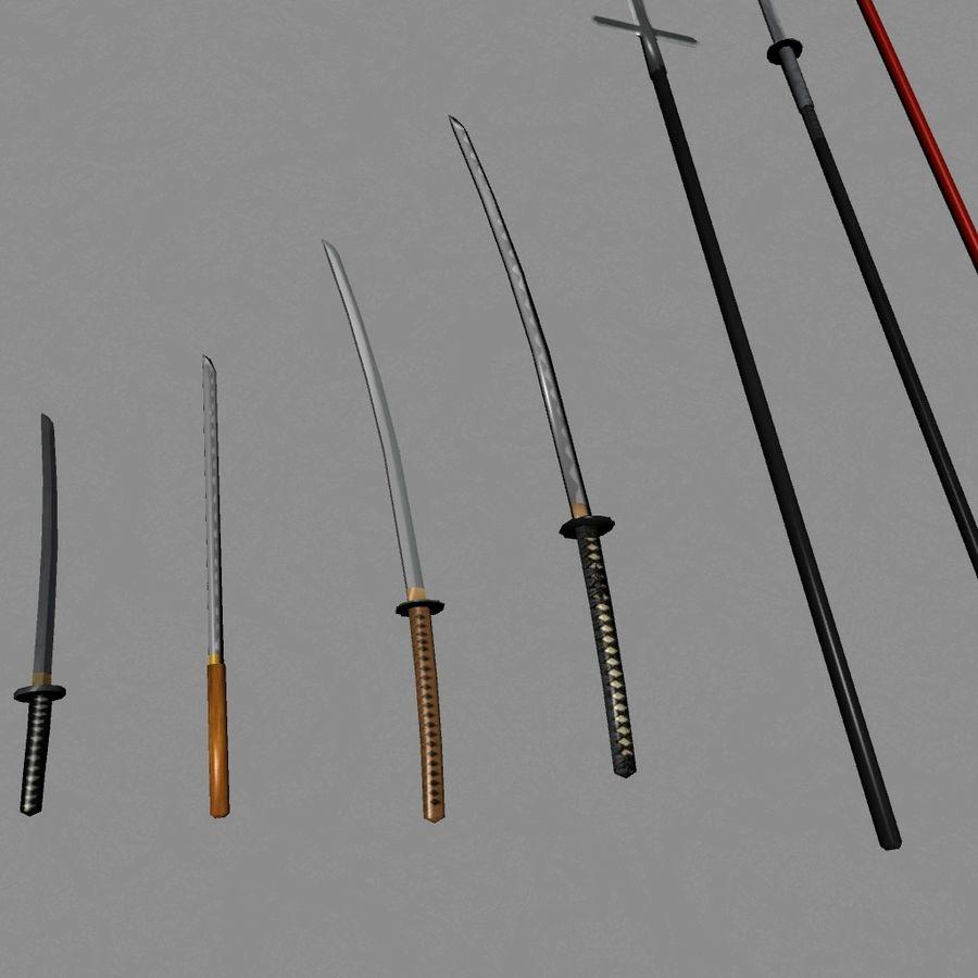 Samurai mele Weapons(Katana,Yari等) royalty-free 3d model - Preview no. 6
