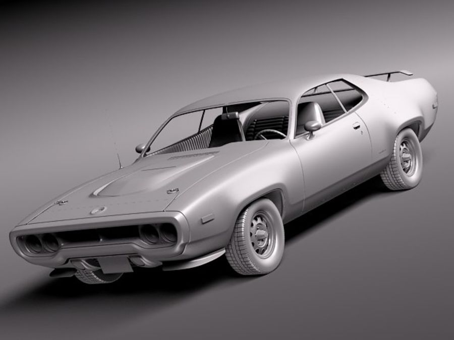 Plymouth Road Runner GTX 1971-1975 royalty-free 3d model - Preview no. 9