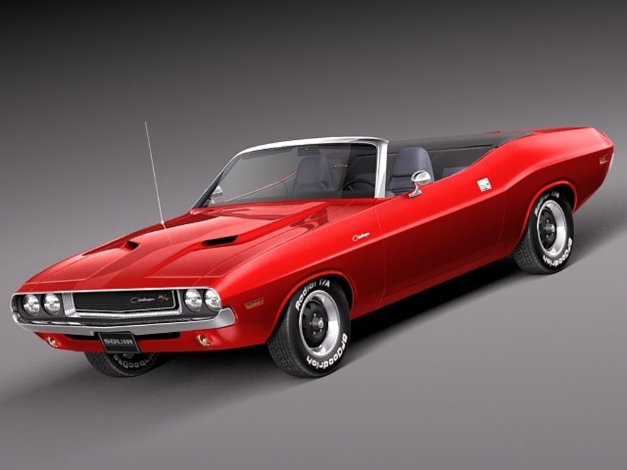 Dodge Challenger 1970 Кабриолет royalty-free 3d model - Preview no. 1