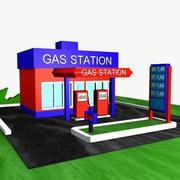 Cartoon Gas Station 1 3d model