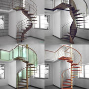 Pacote de escadas espirais 3d model