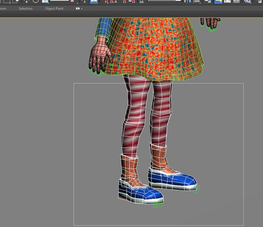 ragazza dei cartoni animati royalty-free 3d model - Preview no. 14