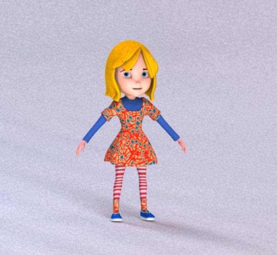ragazza dei cartoni animati royalty-free 3d model - Preview no. 8