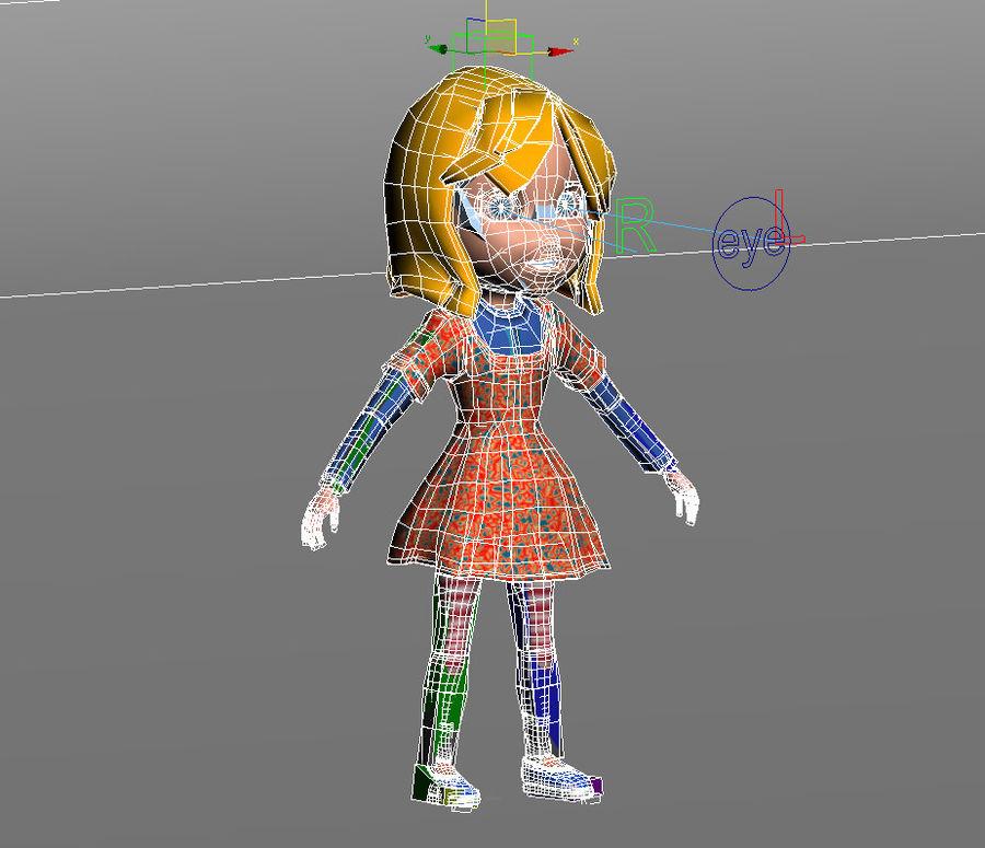 ragazza dei cartoni animati royalty-free 3d model - Preview no. 10