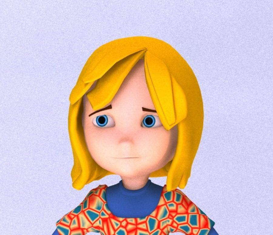 ragazza dei cartoni animati royalty-free 3d model - Preview no. 1