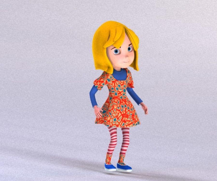 ragazza dei cartoni animati royalty-free 3d model - Preview no. 11