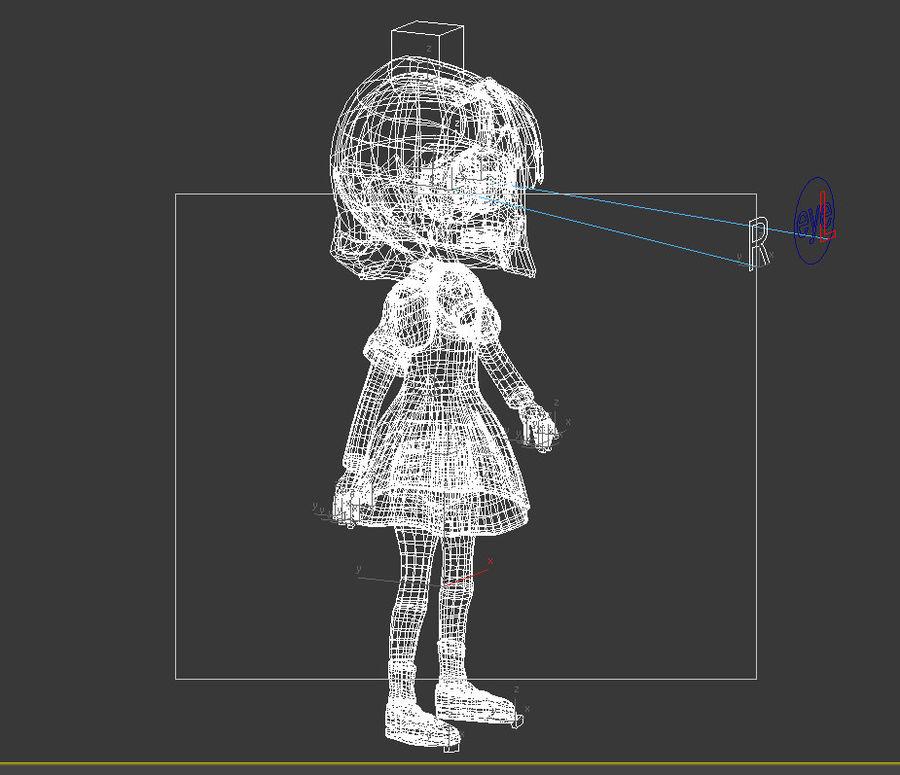 ragazza dei cartoni animati royalty-free 3d model - Preview no. 13