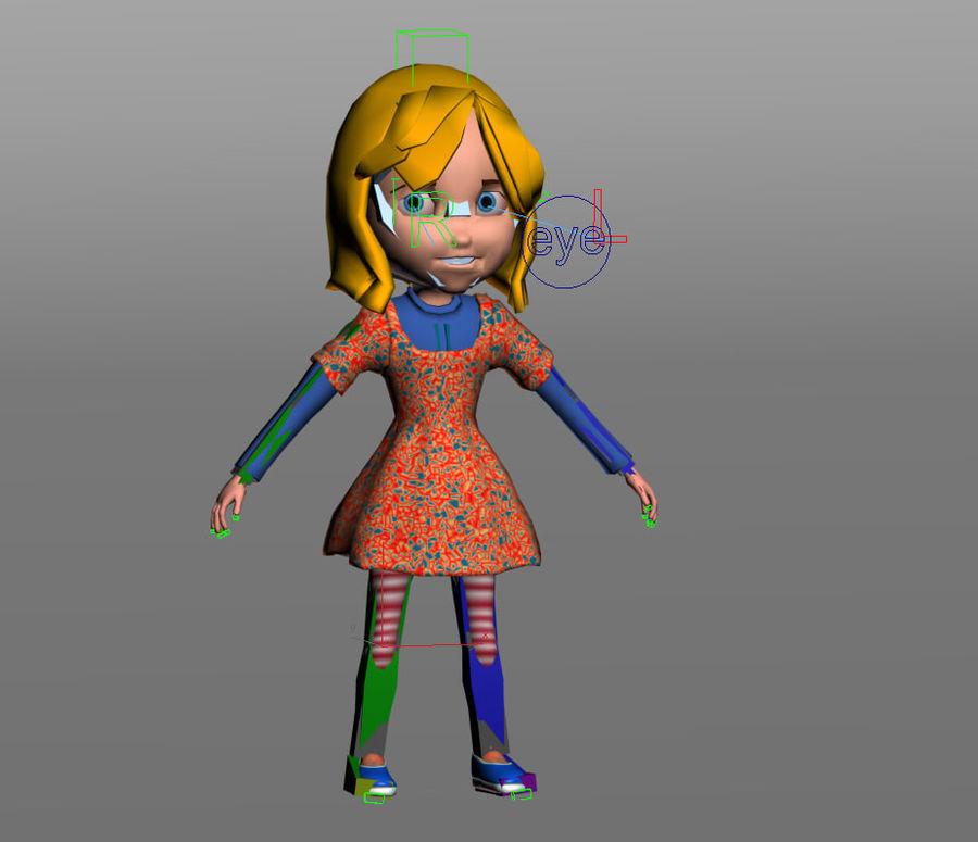 ragazza dei cartoni animati royalty-free 3d model - Preview no. 9