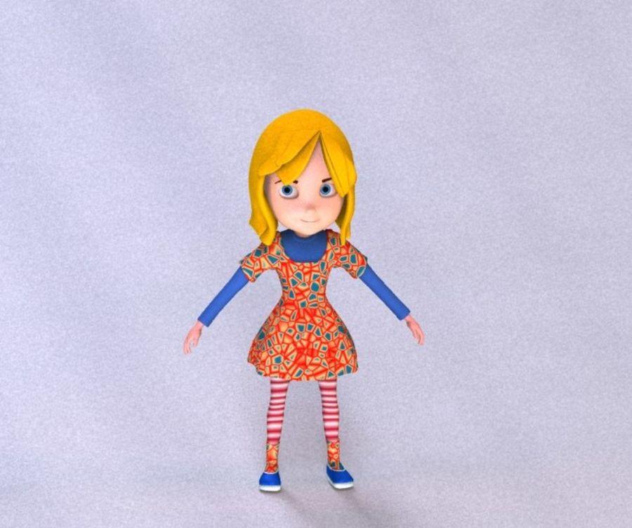 ragazza dei cartoni animati royalty-free 3d model - Preview no. 12