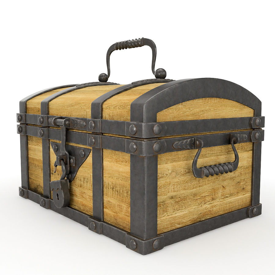 Chest Wood and Metal royalty-free 3d model - Preview no. 3