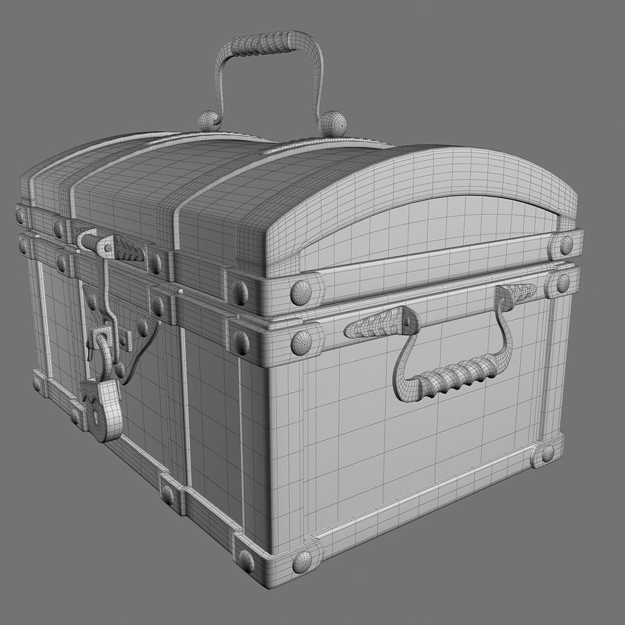 Chest Wood and Metal royalty-free 3d model - Preview no. 17