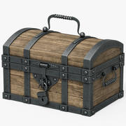 箱の木と金属 3d model