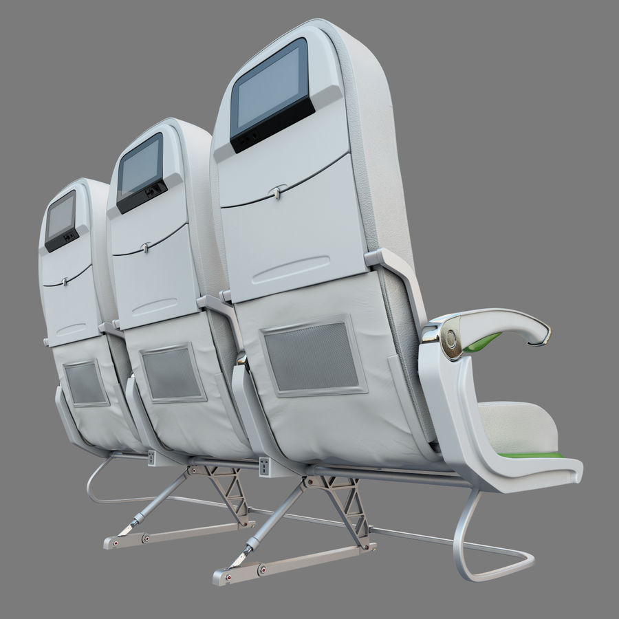 Economy Class Airplane Seat royalty-free 3d model - Preview no. 4