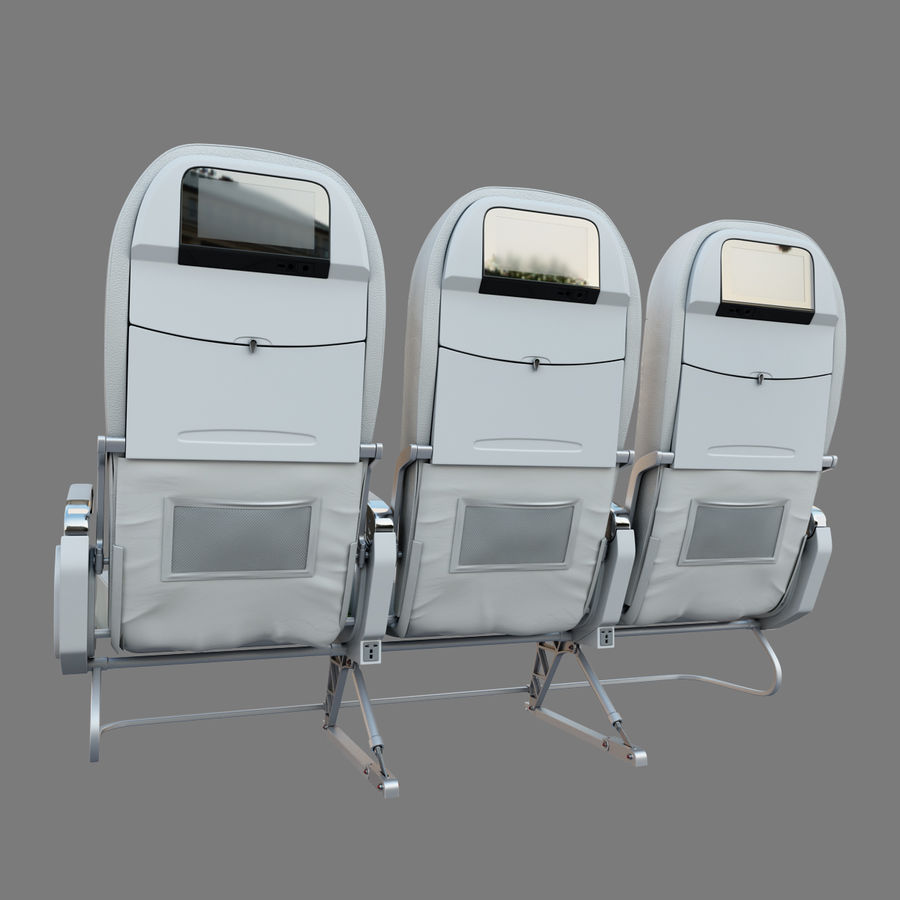 Economy Class Airplane Seat royalty-free 3d model - Preview no. 3