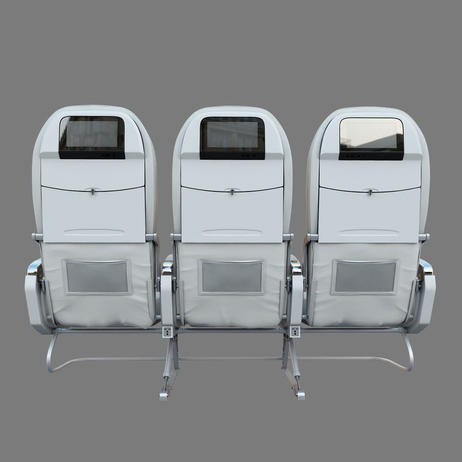 Economy Class Airplane Seat royalty-free 3d model - Preview no. 6